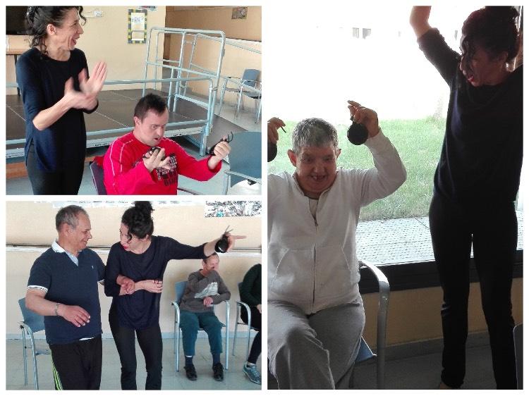 """Disfrutando del zapateado flamenco en una clase magistral impartida en el servicio asistencial """"Valle del Roncal"""" gestionado por FSC"""